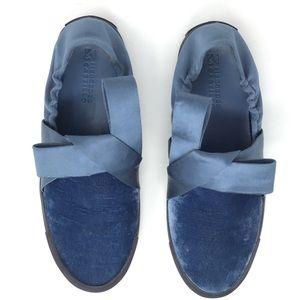 NIB Mercedes Castillo Arden Slip On Velvet Sneakers in Blue & Black